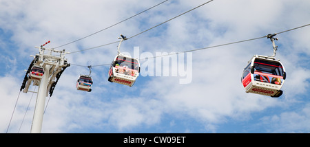The Emirates air line cable car, River Thames London UK - Stock Photo
