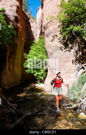 SA Utah, woman hiking in Kanarra Creek slot canyon near Zion National Park. - Stock Photo
