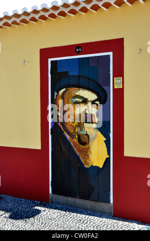 Portugal - Madeira island - Funchal Zona Velha - Old Town - decorated door - part of work to brighten area by local - Stock Photo