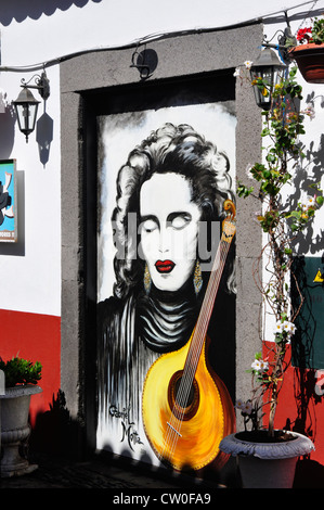 Portugal - Madeira island - Funchal - Zona Velha - decorated doorway - part of work by local artists to brighten - Stock Photo