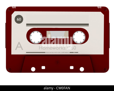 old cassette tape isolated on white background - Stock Photo