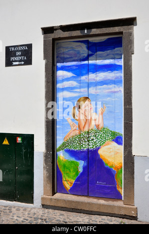 Portugal - Madeira - Funchal Zona Velha - decorated house door - by local artist - plan to brighten up the area - Stock Photo