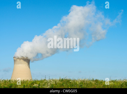 Smokestack of nuclear power plant - Stock Photo