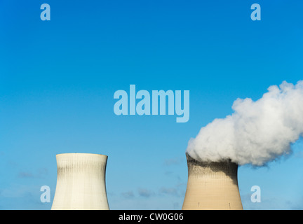 Smokestacks of nuclear power plant - Stock Photo