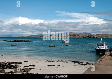 View of Mull mainland from the harbour, Isle of Iona, Argyll & Bute (Inner Hebrides), Scotland, UK, Western Europe. - Stock Photo