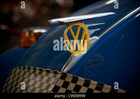 vw badge,volkswagen,car, chrome, chromed, circular, classic, custom, editorial, engineering, event, german, hood, - Stock Photo