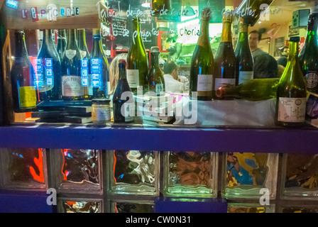 Paris, France, French WIne Bistro Café Restaurant, 'Le Verre Volé', in the Canal Saint Martin Area, Wine Bottles - Stock Photo