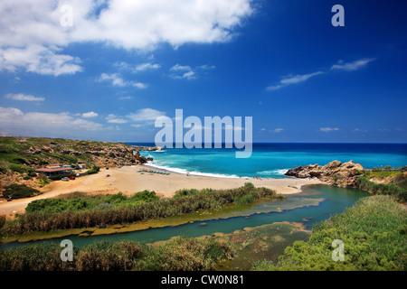 Geropotamos beach and river, Rethymno prefecture, Crete, Greece - Stock Photo