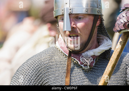 Man in replica medieval costume during Viking / Anglo-Saxon Reenactment. St Albans, UK. May 2012 - Stock Photo
