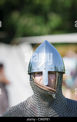 Man in replica early medieval costume during Viking / Anglo-Saxon Reenactment.  St Albans, UK. May 2012 - Stock Photo