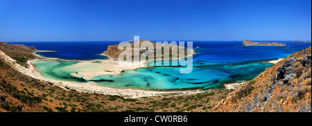 Balos beach on the norhwest coast of  Crete island, in Hania Prefecture, Greece. Panoramic view (5 photos stitched). - Stock Photo