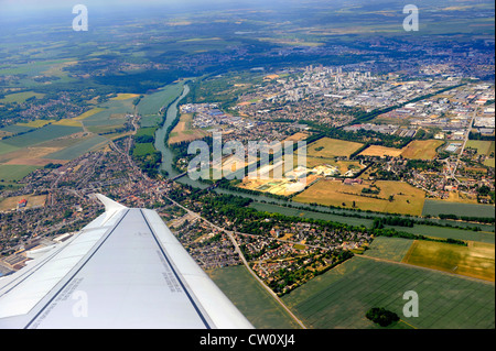 Aerial view from airplane Paris France Europe Catalonia - Stock Photo