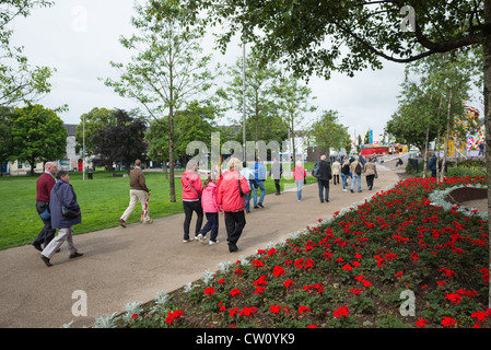 Flower beds at Eyre Square Galway City, Ireland. - Stock Photo