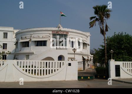 Douane Customs office Building built by French Pondicherry Puducherry Tamil Nadu India.A Touch of French Colonial - Stock Photo