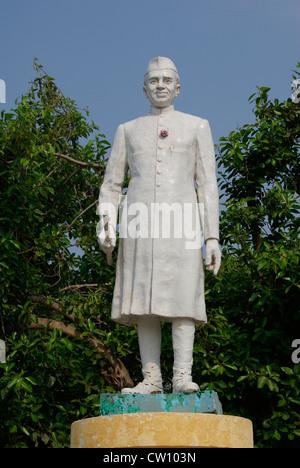 Jawaharlal Nehru Sculpture Monument in Pondicherry puducherry Tamil Nadu India.First Indian Prime Minister and Political - Stock Photo