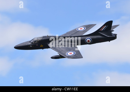 Hawker Hunter T7 aircraft in the markings of 111 Squadron, RAF, making a fast flypast at RAF Fairford - Stock Photo