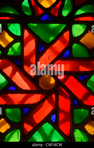 Stained glass windows in the National Museum, Sana'a, a UNESCO World Heritage Site, Yemen, Western Asia, Arabian - Stock Photo