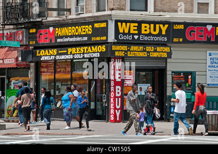 Pawnbrokers pawn pawns Dr Martin Luther King JR Boulevard Harlem New York  Manhattan United States - Stock Photo