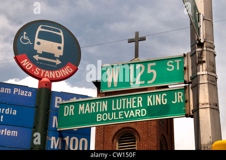 Dr Martin Luther King JR Boulevard Harlem New York  Manhattan United States Stock Photo