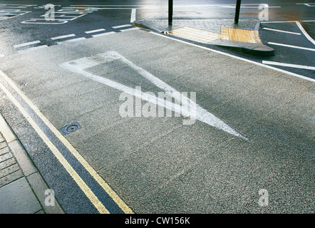 Coloured asphalt applied on road crossing. England, UK. - Stock Photo