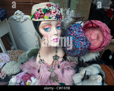 A hat display and mannequin in a vintage shop window Cardiff Wales UK  KATHY DEWITT - Stock Photo