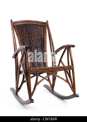 Rattan Chair · Antique Wicker Rocking Chair Isolated On White Background    Stock Photo
