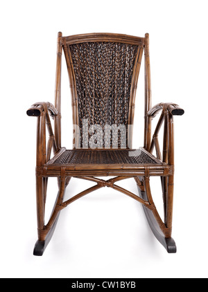 Antique bamboo wicker rocking chair isolated on white background - Stock Photo