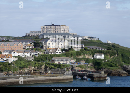 A view of Newquay Harbour in Cornwall, England - Stock Photo