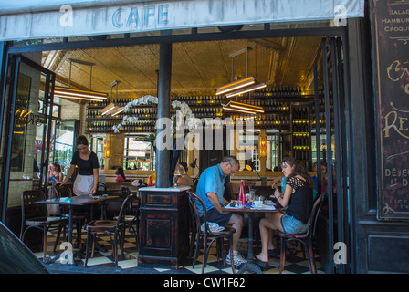 Paris, France, People Sharing Drinks, Sitting at Tables in Old French Bistro Café, Restaurant, Ile Saint Louis - Stock Photo