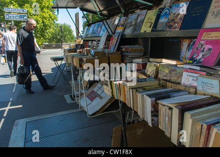 Paris, France, French Used Books On DIsplay in Outdoor Market on Seine River Quay, Bouquinistes - Stock Photo