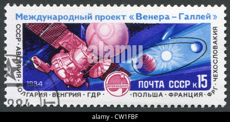USSR - CIRCA 1984: A stamp printed in tne USSR shows International Project 'Venus-Halley', circa 1984 - Stock Photo
