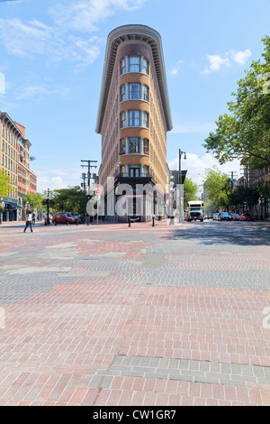 The European Hotel is a flatiron building located on the east side of Gastown in Vancouver BC. - Stock Photo