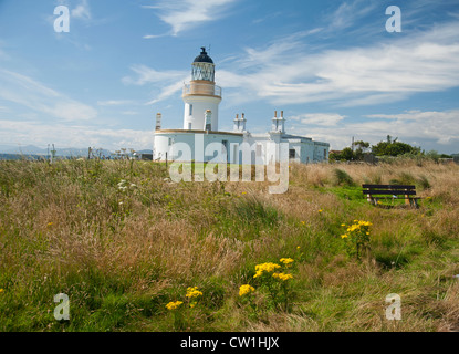 Channory Point Lighthouse, automated since 1984, Moray Firth near Fortrose in Easter Ross.   SCO 8294 - Stock Photo