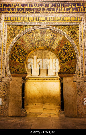 Mihrab in The Great Mosque (Mezquita Cathedral), beautifully ornamented 10th century work of art in Cordoba, Andalucia, - Stock Photo