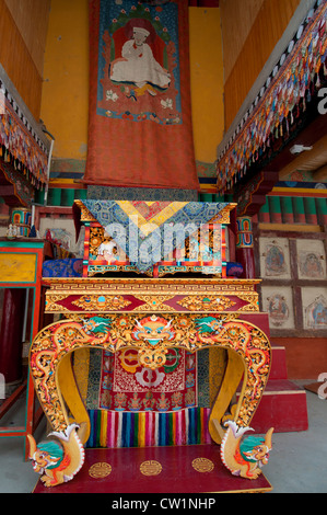 Gold gilded and highly decorated altar at Hemis Monastery a Tibetan Buddhist monastery high in the mountains of - Stock Photo