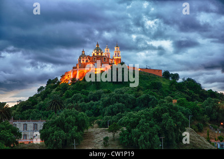 Church of Neustra Senor de los Remedios or Our Lady of Remedios in Cholula, Mexico - Stock Photo
