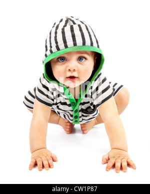 Lovely boy isolated on white background, sweet little baby wearing striped sliders, charming small kid in black - Stock Photo