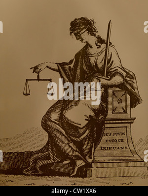 Seated Lady Justice illustration by George Richardson - Stock Photo