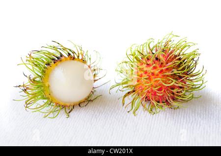 rambutan fruit on white background - Stock Photo