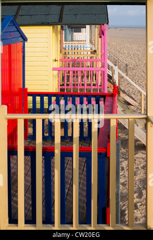 Colourful beach huts. Wells next the sea. Norfolk, England - Stock Photo