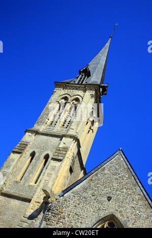 Church, Rue de l'Eglise ,le Breuil-en-auge, calvados, basse normandie, normandy, France - Stock Photo
