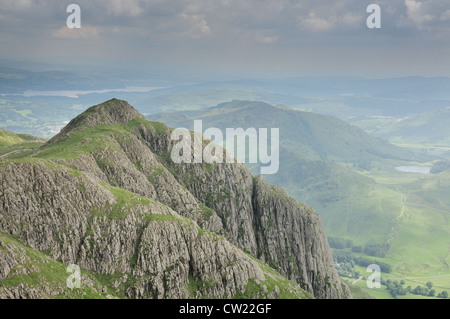 View of Loft Crag from PIke of Stickle. Langdale Pikes in summer in the English Lake District