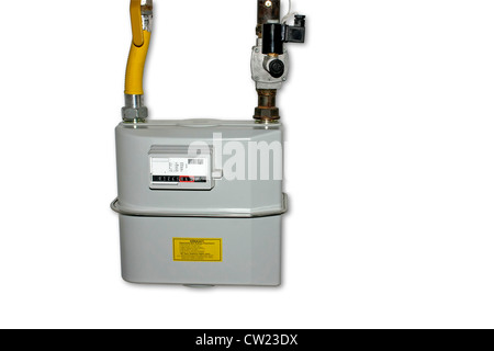 Natural Gas Meter. Isolated on white background with copyspace. Including clipping path. All copyrighted elements - Stock Photo