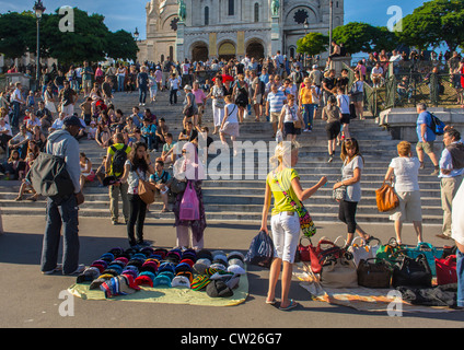Paris, France,  Crowd Tourists Visiting Butte Montmartre Area, Going up Staircase to Sacre Coeur Basilica, Illegal - Stock Photo