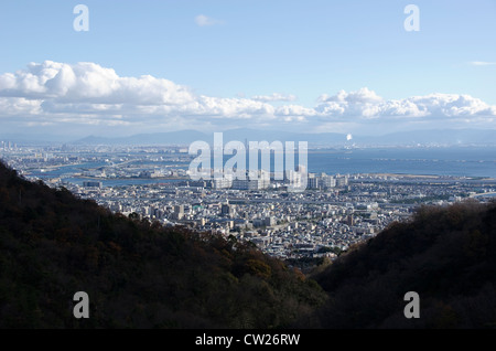 Panorama view of Osaka bay from the surrounding mountains