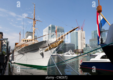 Royal Yacht Dannebrog, moored at Canary Wharf during the 2012 Summer Olympics in London - Stock Photo