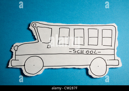 CHILD MADE SKETCH, School bus draw black on white on a Cyan blue background - Stock Photo
