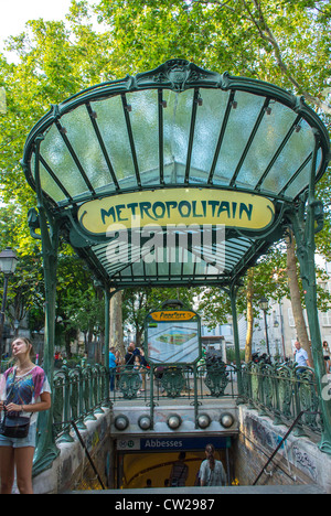 Paris, France, People in Abesses Metro Entrance, Montmartre Area, The canopy at Abbesses station is apparently one - Stock Photo