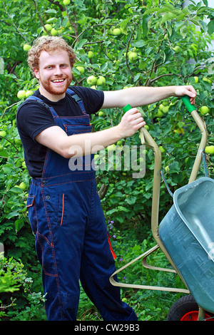 A young gardener working in the garden and holding the wheelbarrow - Stock Photo