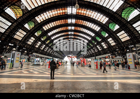 Milan Central Station (aka Milano Centrale) interior view in Italy. - Stock Photo